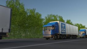 Freight semi trucks with China State Construction Engineering Corporation logo driving along forest road, seamless loop. Editorial 4K animation stock video