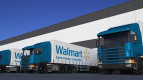 Freight semi trucks with Walmart logo loading or unloading at warehouse dock, seamless loop. Editorial animation