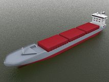 Freight ship. 3d freight ship on water Stock Photo