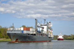 Freight ship on Kiel Canal Royalty Free Stock Photos