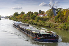Freight ship on the Mittelland Canal Stock Images
