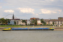 Freight ship on Rhine River,  Cologne Germany Stock Image