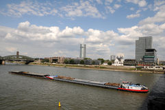 Freight ship on Rhine River,  Cologne Germany Stock Photo