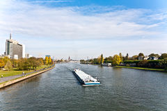 Freight ship on river Main Royalty Free Stock Images