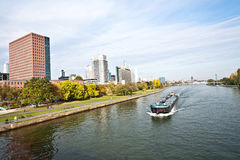 Freight ship on the river Main Stock Photos