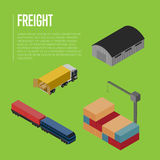 Freight shipment isometric banner Royalty Free Stock Photography
