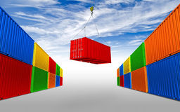 Freight shipping container hanging on crane hook vector illustration