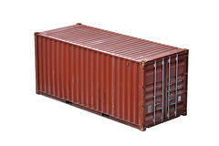 Freight Shipping Container Isolated On White Stock Images
