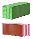 Freight shipping containers. Isolated on white, set Royalty Free Stock Photos
