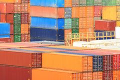Freight shipping containers at the docks. stock images