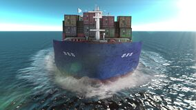 Front view -Cargo ship with containers sailing in the open blue sea