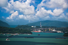 Freight ships at Phuket island in Thailand Stock Photos