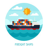Freight ships transport background in flat design vector illustration