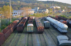 Freight station with carriages Royalty Free Stock Photos