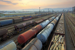 Freight Station with trains Royalty Free Stock Images