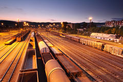 Freight Station with trains Stock Photography