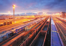 Freight Station with trains Stock Image