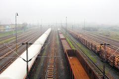 Freight Station with trains - Cargo transportation Stock Images