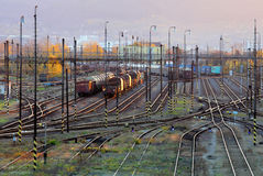 Freight Station with trains - Cargo transportation Royalty Free Stock Photo