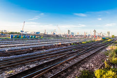Freight Station with trains at sunrise, Blue sky Royalty Free Stock Images