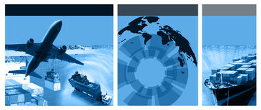 Freight template. Photo montage of freight/transport business activities, complex stock illustration