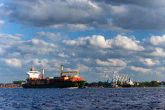 Freight traffic on the river in containers Royalty Free Stock Image