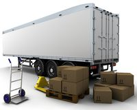 Freight trailer and shipping boxes Royalty Free Stock Photos