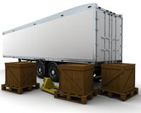 Freight trailer and shipping boxes Royalty Free Stock Photo