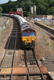Freight train. Approaching Hexham station, Northumberland, England Stock Photography