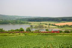 Freight train. A type M41 loco hauling a freight train (Hungary, 2006. 06. 26 Royalty Free Stock Photography