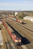 Freight train. Transporting wood at Bataszek, Hungary Stock Photo