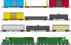 Freight Train. Assorted common North American freight cars and two diesel engines. Cars and engines can be copied and pasted to form a large train royalty free illustration