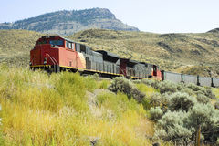 Freight Train. A freight train passes through the hillside of Kamloops, British Columbia, Canada Royalty Free Stock Image