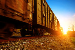 Freight train. Dusk, Motion Blur freight train Royalty Free Stock Images