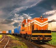 Freight train. Moving on railway Stock Photos