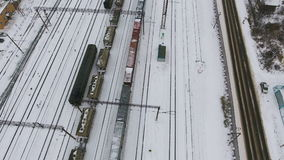 Freight train from above. Aerial. stock video