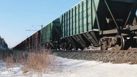 Freight train in action stock footage