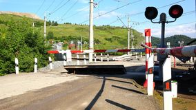 Freight train approaching a closed railway crossing.  stock footage