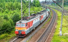Freight train at Bekasovo-Sortirovochnoye station, the largest in Europe railway station. Moscow, Russia. Freight train at Bekasovo-Sortirovochnoye station, by Stock Photo