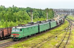 Freight train at Bekasovo-Sortirovochnoye station, the largest in Europe railway station. Moscow, Russia. Freight train at Bekasovo-Sortirovochnoye station, by Royalty Free Stock Photos