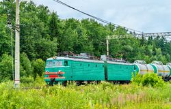 Freight train at Bekasovo-Sortirovochnoye station, the largest in Europe railway station. Moscow, Russia. Freight train at Bekasovo-Sortirovochnoye station, by Royalty Free Stock Image