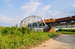 Freight train on the bridge Stock Photos