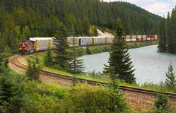 Freight Train in Canada Stock Images