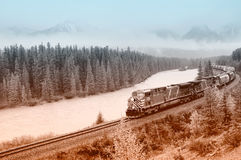 Freight train of Canadian Pacific railway. Royalty Free Stock Image