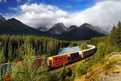 Freight Train, Canadian Rockies Royalty Free Stock Photography