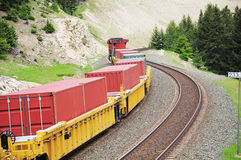 Freight train. Freight train in Canadian rockies moves from Jasper Royalty Free Stock Photography