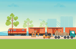 Freight train cargo cars. Stock Photography