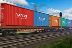 Freight train with cargo containers Royalty Free Stock Photos