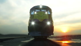 Freight train with cargo containers. Against Sunrise. logistic concept. Realistic cinematic 4k. Freight train with cargo containers. Against Sunrise. logistic stock footage