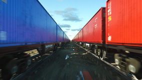Freight train with cargo containers. Logystic concept. 3d rendering. Stock Photography